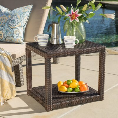 Varosha Wicker Side Table Upholstery: Brown
