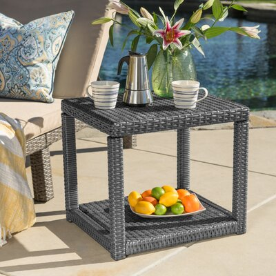 Stephany Wicker Side Table Upholstery: Gray