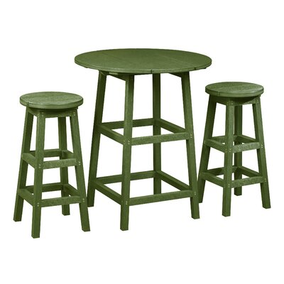 Zander 3 Piece Pub Table Set Finish: Cactus Green