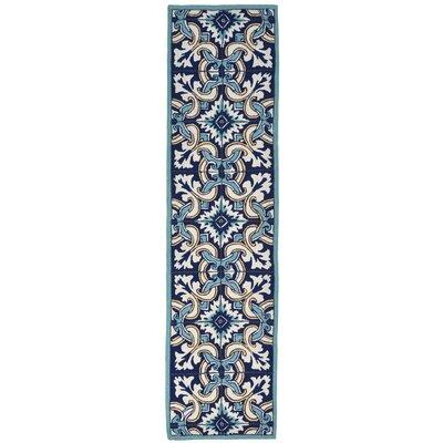 Demirhan Floral Tile Blue Area Rug Rug Size: Runner 2 x 8