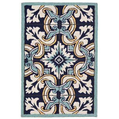 Demirhan Floral Tile Blue Area Rug Rug Size: 2 x 3
