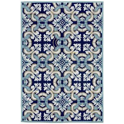 Demirhan Floral Tile Blue Area Rug Rug Size: 5 x 76