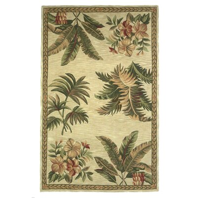Murray Ivory Tropical Oasis Area Rug Rug Size: 53 x 83