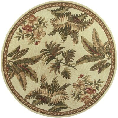 Murray Ivory Tropical Oasis Area Rug Rug Size: Round 76