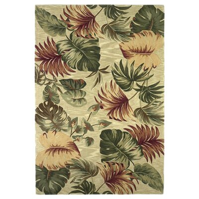 Murray Beige Palm Leaves Area Rug Rug Size: 79 x 96