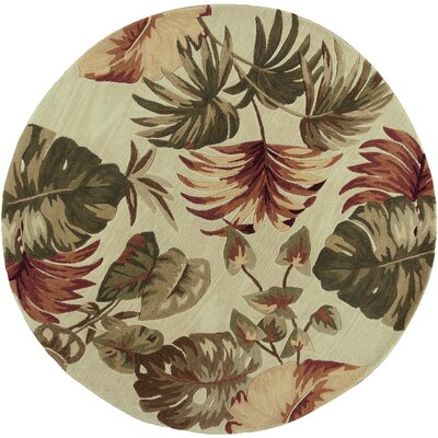 Murray Beige Palm Leaves Area Rug Rug Size: Round 76