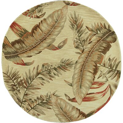 Murray Ivory Ferns Area Rug Rug Size: Round 76