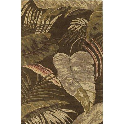 Imala Mocha Rainforest Floral Area Rug Rug Size: 33 x 53