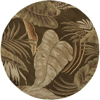 Antigua Mocha Rainforest Floral Area Rug Rug Size: Round 76
