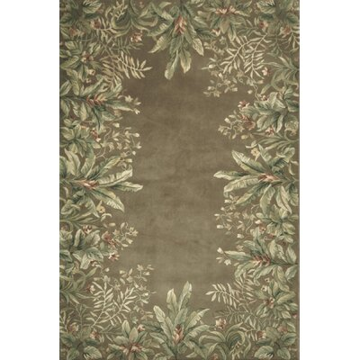 Marion Taupe Tropical Border Area Rug Rug Size: Rectangle 53 x 83