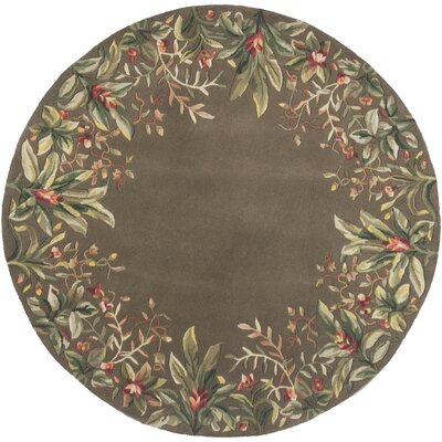 Marion Taupe Tropical Border Area Rug Rug Size: Round 76