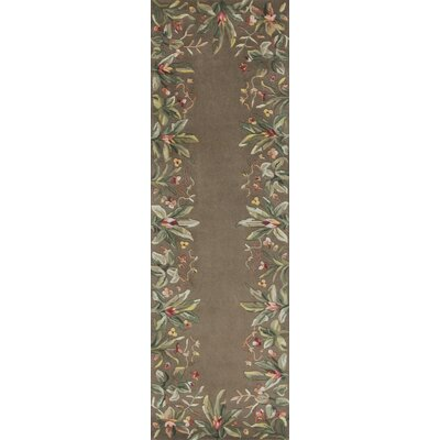 Marion Taupe Tropical Border Area Rug Rug Size: Runner 26 x 8