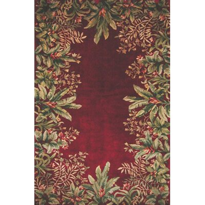 Marion Ruby Tropical Border Area Rug Rug Size: Rectangle 93 x 133