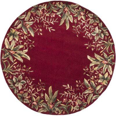 Marion Ruby Tropical Border Area Rug Rug Size: Round 56