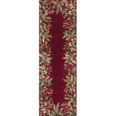 Marion Ruby Tropical Border Area Rug Rug Size: Runner 26 x 8