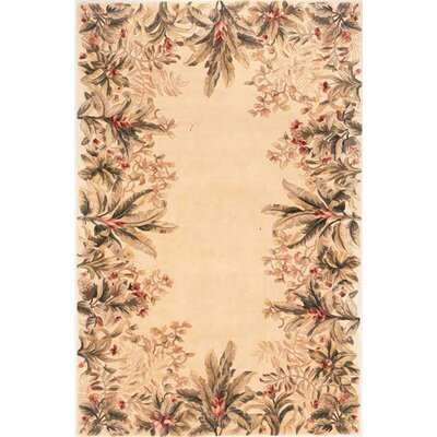 Marion Ivory Tropical Border Area Rug Rug Size: Rectangle 93 x 133