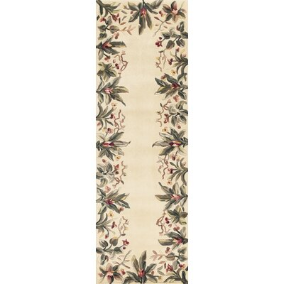 Marion Ivory Tropical Border Area Rug Rug Size: Runner 26 x 8