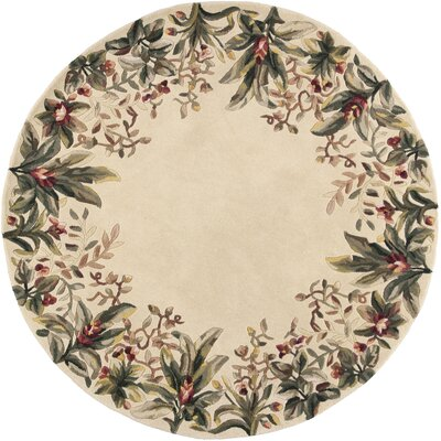 Marion Ivory Tropical Border Area Rug Rug Size: Round 76