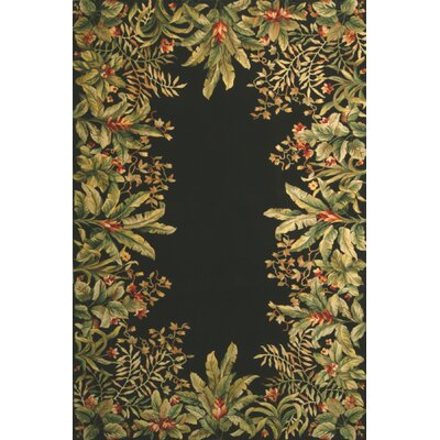Marion Black/Green Tropical Border Area Rug Rug Size: 26 x 46