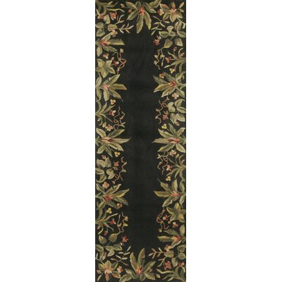 Marion Black/Green Tropical Border Area Rug Rug Size: Runner 26 x 8