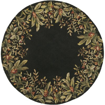 Marion Black/Green Tropical Border Area Rug Rug Size: Round 56
