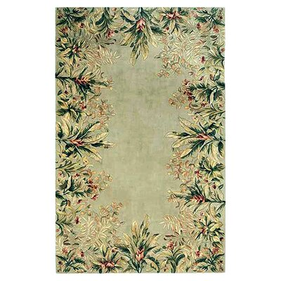 Marion Sage Tropical Border Area Rug Rug Size: Rectangle 93 x 133