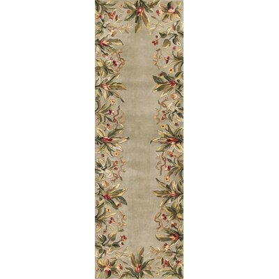 Marion Sage Tropical Border Area Rug Rug Size: Runner 26 x 8