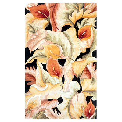Cheap Rowan Black Calla Lillies Area Rug Rug Size 5 x 8  for sale