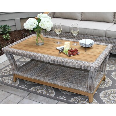 Desmond Wicker & Teak Coffee Table
