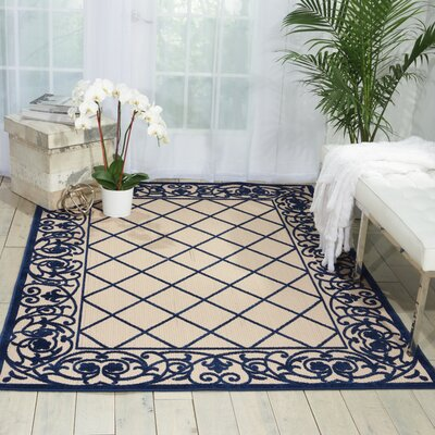 Seaside Navy/Beige Indoor/Outdoor Area Rug Rug Size: 53 x 75