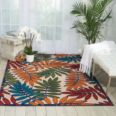 Farley Beige/Green Indoor/Outdoor Area Rug Rug Size: 53 x 75