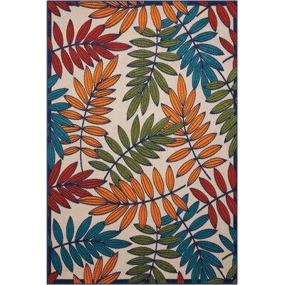 Farley Beige/Green Indoor/Outdoor Area Rug Rug Size: 36 x 56
