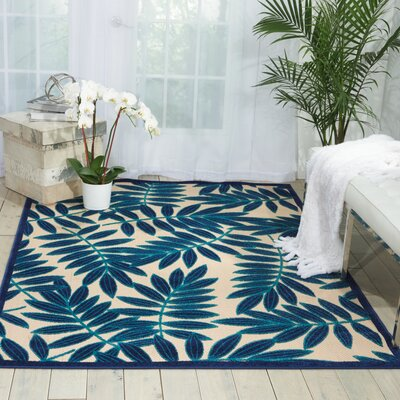 Seaside Navy/Beige Indoor/Outdoor Area Rug Rug Size: 710 x 106