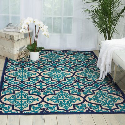 Seaside Navy/Teal Indoor/Outdoor Area Rug Rug Size: Rectangle 53 x 75