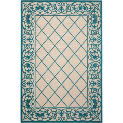 Seaside Aqua/Beige Indoor/Outdoor Area Rug Rug Size: 53 x 75