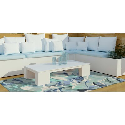 Rachael Palm Leaf Hand-Tufted Blue Indoor/Outdoor Area Rug