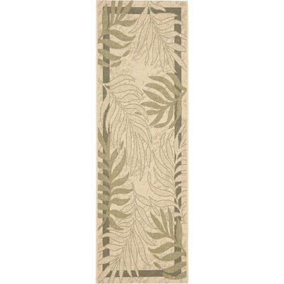 Amaryllis Cream/Green Indoor/Outdoor Rug Rug Size: Runner 24 x 911
