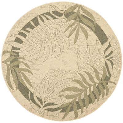 Amaryllis Cream/Green Indoor/Outdoor Rug Rug Size: Round 67
