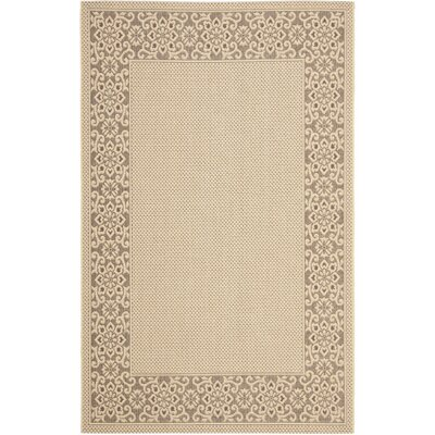 Amaryllis Cream/Light Chocolate Floral Indoor/Outdoor Rug Rug Size: Rectangle 53 x 77