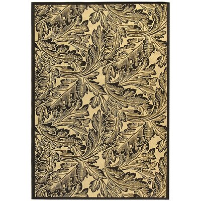 Amaryllis Sand/Black Outdoor Area Rug Rug Size: 67 x 96
