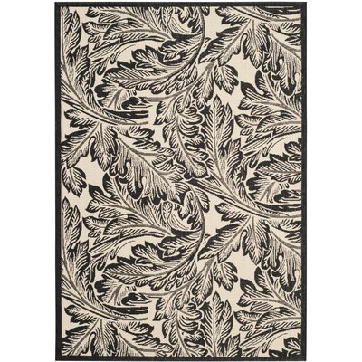 Alberty Sand/Black Outdoor Area Rug Rug Size: Rectangle 53 x 77
