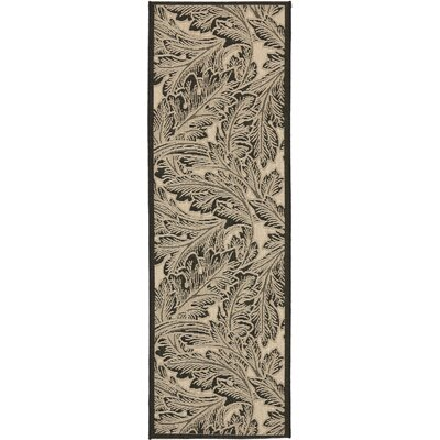 Amaryllis Sand/Black Outdoor Area Rug Rug Size: Runner 24 x 67