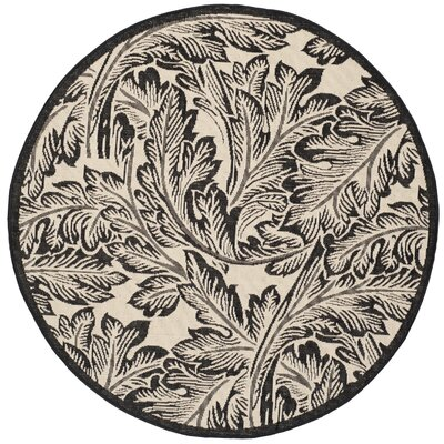 Alberty Sand/Black Outdoor Area Rug Rug Size: Round 67