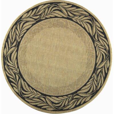 Amaryllis Ivory/Grey Outdoor Area Rug Rug Size: Round 53