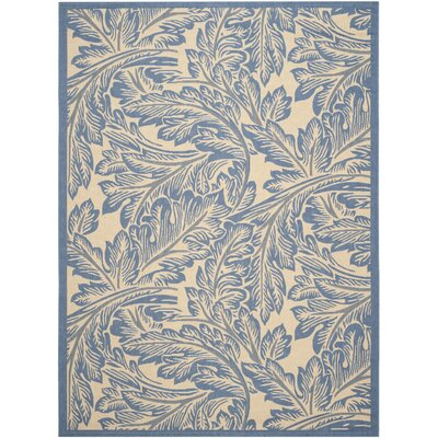 Amaryllis Natural/Blue Outdoor Area Rug Rug Size: Rectangle 710 x 11