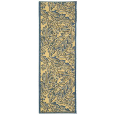 Amaryllis Natural/Blue Outdoor Area Rug Rug Size: Runner 24 x 67