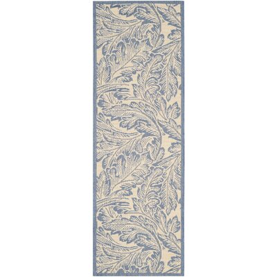 Amaryllis Natural/Blue Outdoor Area Rug Rug Size: Rectangle 27 x 5
