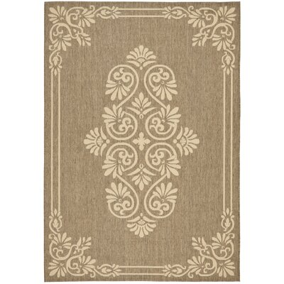 Amaryllis Brown/Creme Indoor/Outdoor Rug Rug Size: 67 x 96