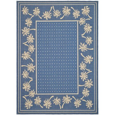 Amaryllis Blue/Ivory Outdoor Rug Rug Size: Rectangle 53 x 77