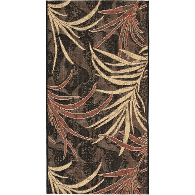 Amaryllis Black/Creme Outdoor Area Rug Rug Size: Rectangle 27 x 5